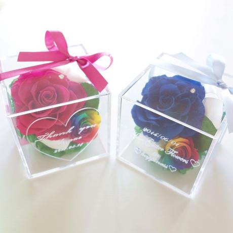 """《名入れギフト☆メッセージ刻印》message ROSE   """"arco iris """" 【選べる2色】レインボーローズの宝石箱"""