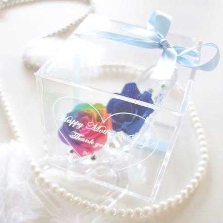 """《名入れギフト☆メッセージ刻印》message ROSE """"BLUE Bijou"""" レインボーローズで彩ったガラスの靴のフラワーボックス"""