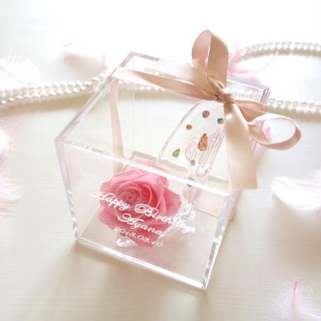 """《名入れギフト☆メッセージ刻印》message ROSE """"Jolie"""" ビジューが輝く小さなシンデレラのガラスの靴"""