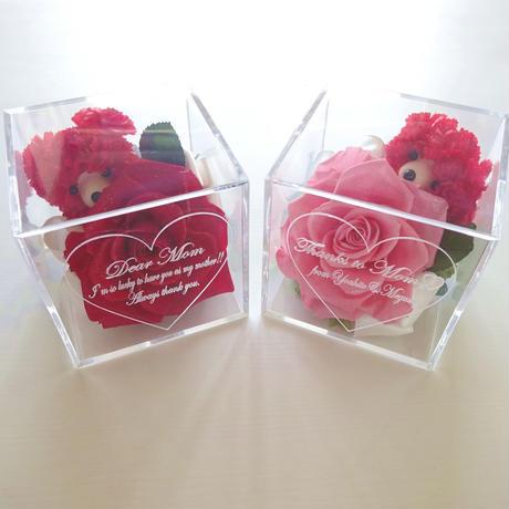 """《名入れギフト☆メッセージ刻印》message ROSE """"Rose Bear""""カーネーションベアーのフラワーボックス"""