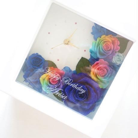 """《名入れギフト・メッセージ刻印》message ROSE """"EXCELLENT BLUE"""" 輝くブルーローズの贅沢な花時計"""