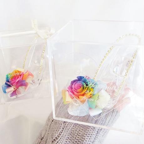 """《名入れギフト☆メッセージ刻印》message ROSE    """"Cinderella"""" ☆大きいサイズ☆ レインボーローズが彩るシンデレラのガラスの靴"""