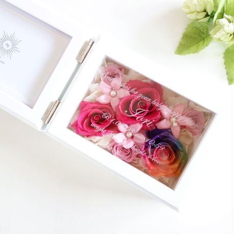 """《名入れギフト☆メッセージ刻印》MEMORIES  """"Jardin de fleurs""""    レインボーローズのフォトフレーム  のコピー"""