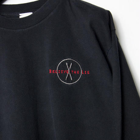 "X Files ""BELIEVE THE LIE"" Embroidered L/S T-shirts X-ファイル"