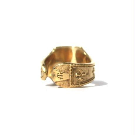 """Cigar label"" Gold ring / Raven"