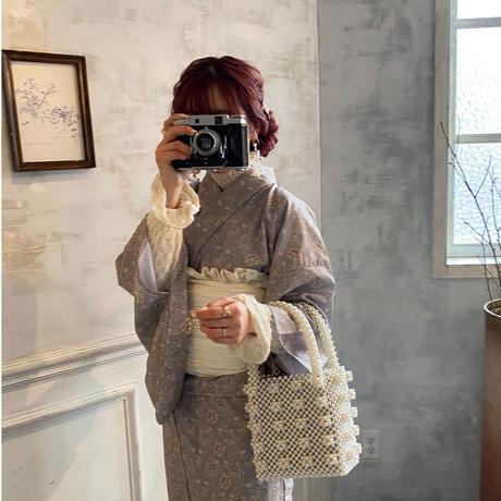 小花レトロ(浴衣+帯セット)【211-A002】