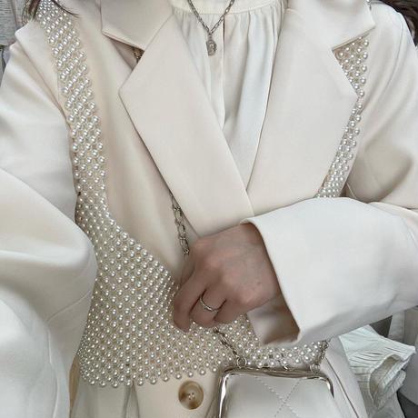 スリットジャケット&パールビスチェset【211-7004/1011】
