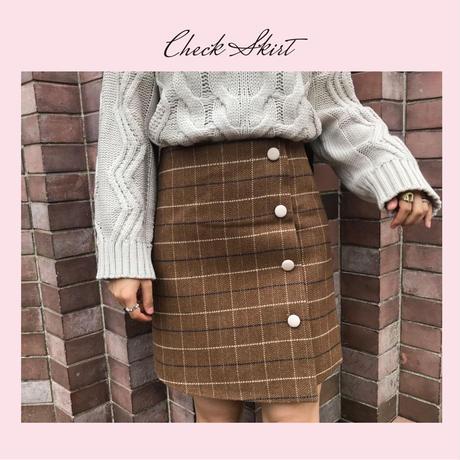 グラフチェックウールスカート