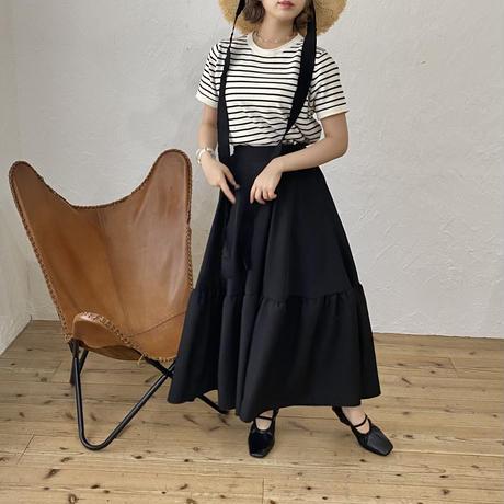 ボリュームフレアロングスカート(black)【211-4018】