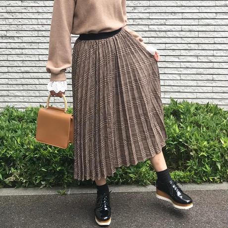 ブラウンチェックプリーツスカート