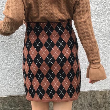 秋色アーガイルチェックニットスカート