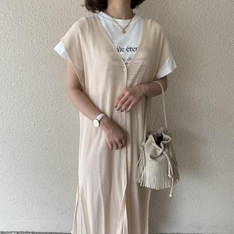 メッシュVネックボタンワンピース【211-6033】