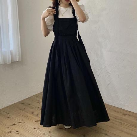 バッククロスデザインワンピース(black)【211-6020】