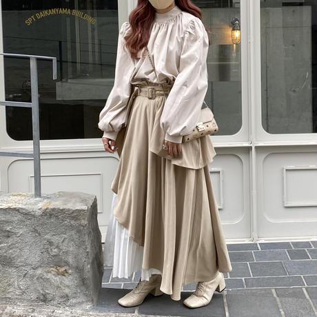 アシメプリーツレイヤードスカート【202-4018】