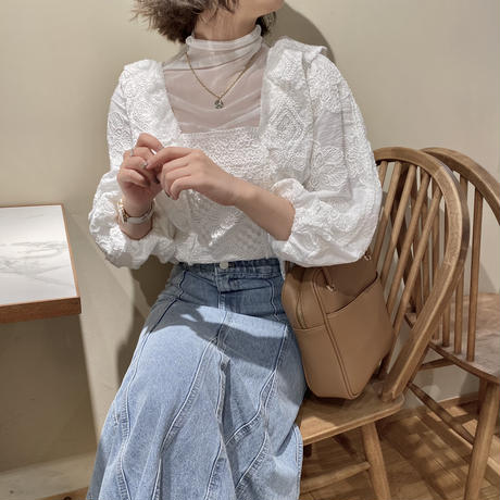 フラワー刺繍かぎ編みトップス【211-1026】