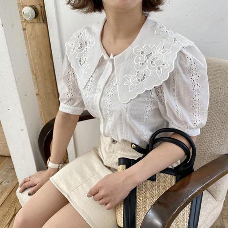 コットン刺繍襟ブラウス【211-1029】