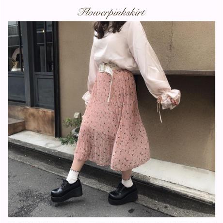 ピンク小花柄シフォンスカート