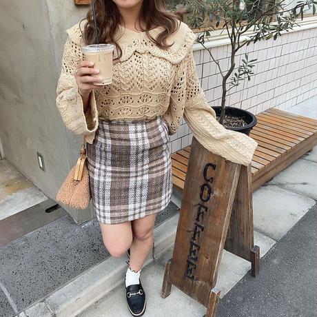 大柄チェックミニタイトスカート【192-4026】
