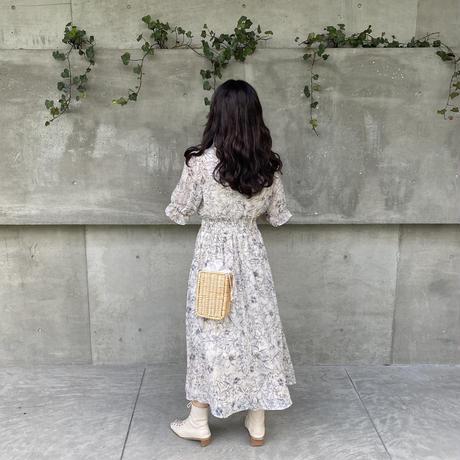 花柄Vネックロングワンピース【211-6042】