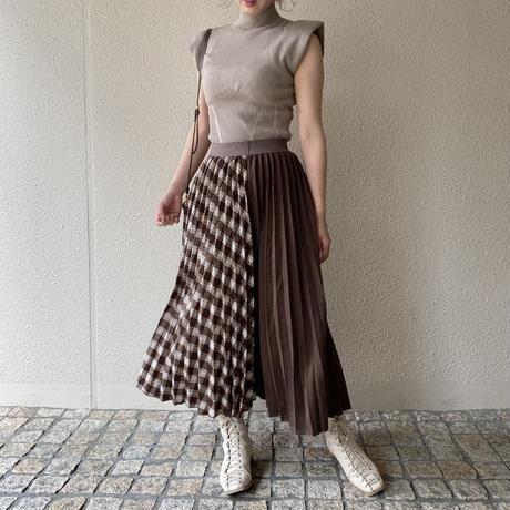 ブラウンチェックプリーツスカート【202-4003】