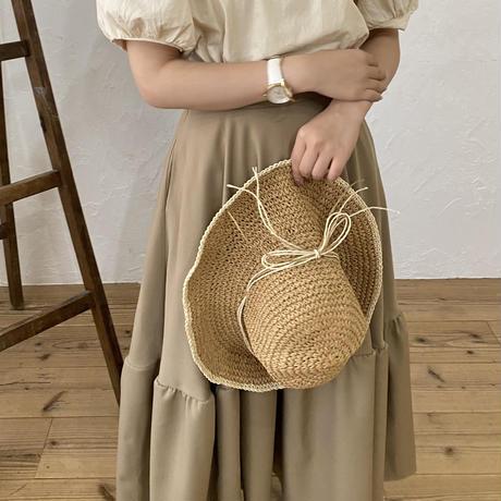ボリュームフレアロングスカート(brown)【211-4018】