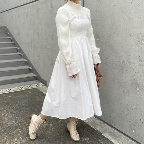シャーリングフレアキャミワンピース【201-6040】