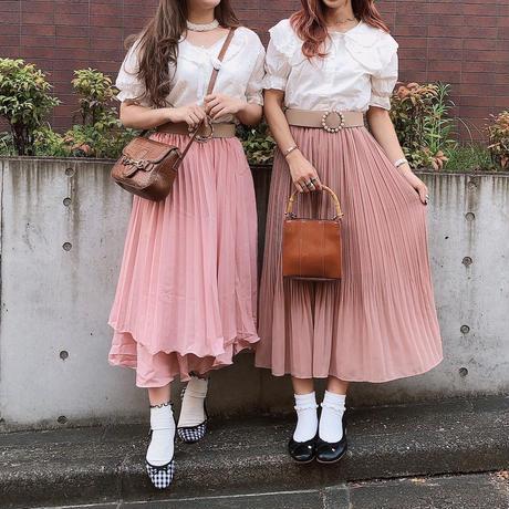 ピンクふんわりプリーツスカート