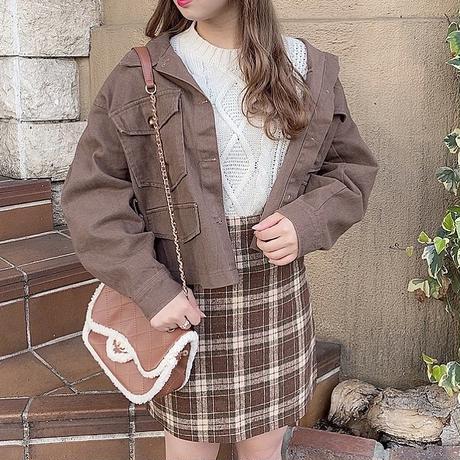 ココアチェック台形スカート【192-4033】