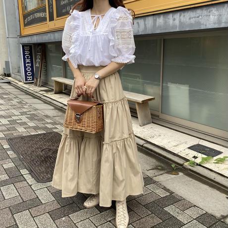 ボリュームティアードロングスカート【211-4026】