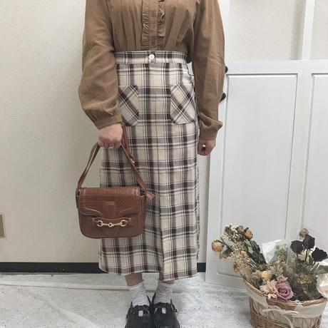 クリームブラウンチェックスカート【192-4006】