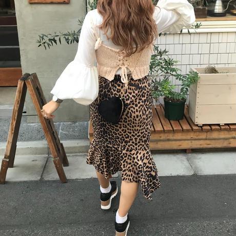 レオパード裾フリルスカート