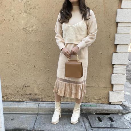 ニット裾フリルロングワンピ【192-6005】