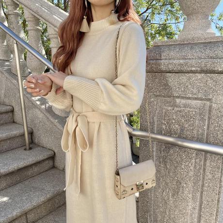 フリルニットロングワンピース【202-6017】