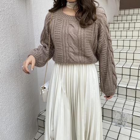 ケーブル袖ボリュームニット【192-3015】