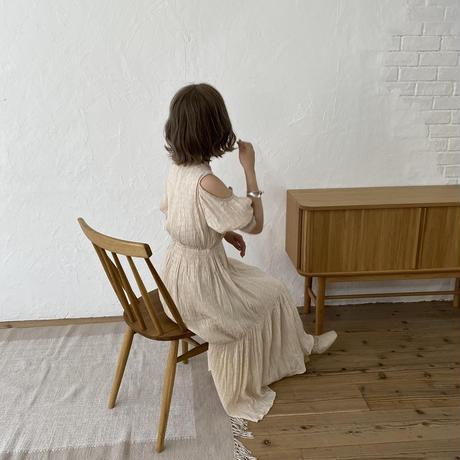 オープンショルダーロングワンピース(pink beige)【211-6021】