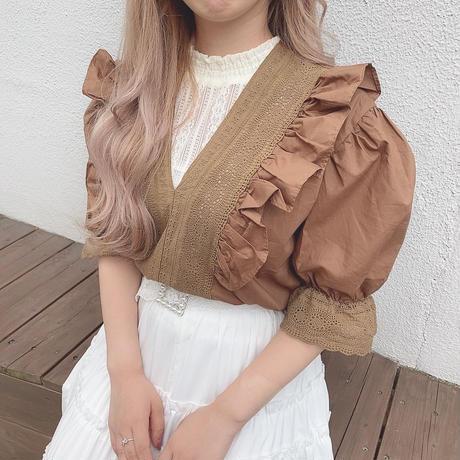 ショコラVネックブラウス【201-1114】