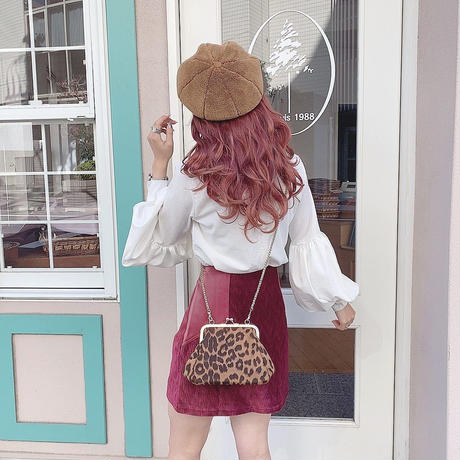 ボルドーベルベット台形スカート【192-4042】