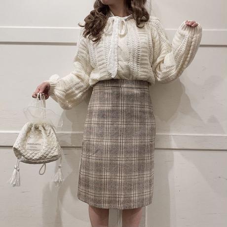 チェックウールタイトスカート【192-4041】
