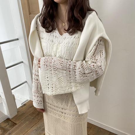 透かし編みフレアスリーブトップス【211-3007】