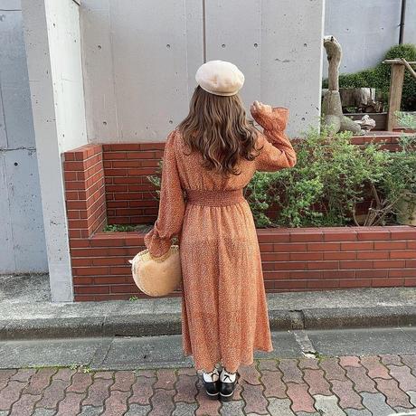 花柄シャーリングワンピ【192-6027】