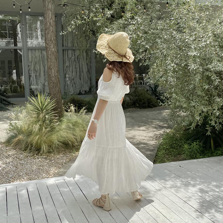 オープンショルダーワンピース(white)【211-6021】