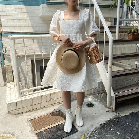 バッグリボンパフスリーブワンピース【201-6048】