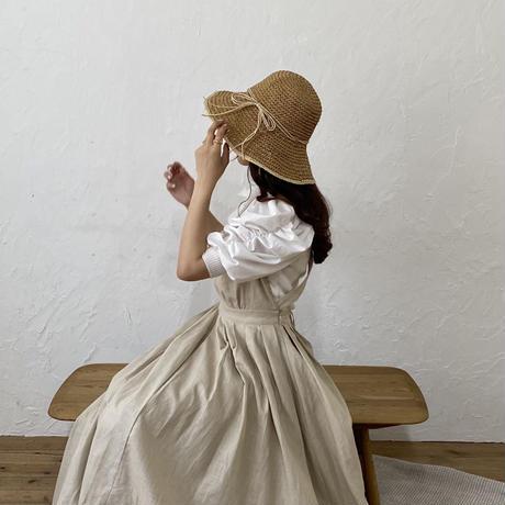 ストローリボン麦わら帽子【211-9079】