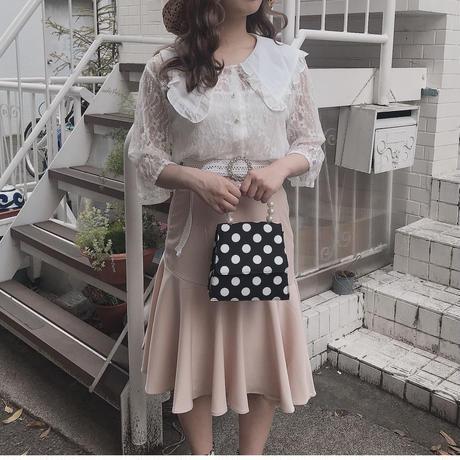 ピンクベージュマーメイドラインスカート【191-4054】