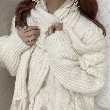 ホワイトデザインニット【192-3037】