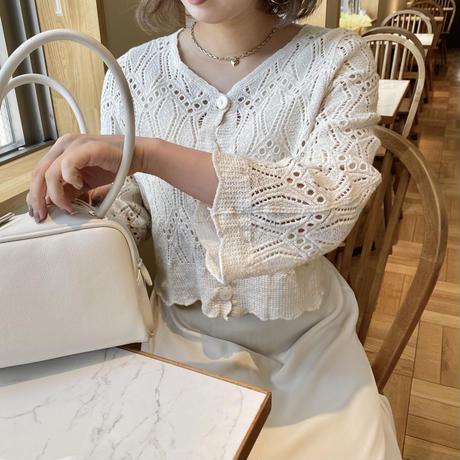 刺繍編みカーディガン【211-3012】