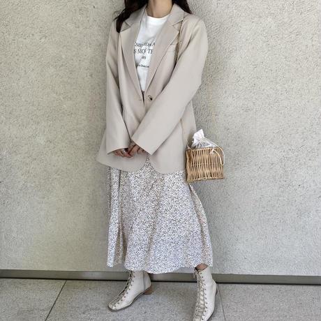 小花柄フレア切り替えスカート【211-4016】