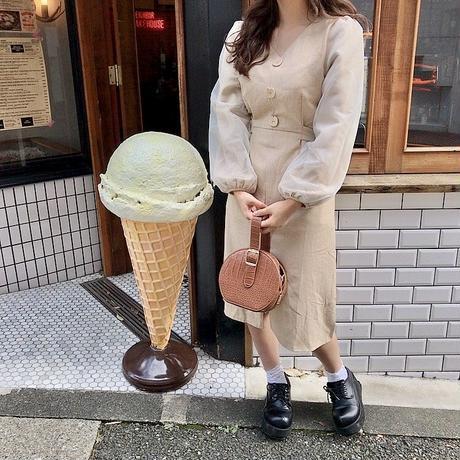 ベージュオーガンジー袖ワンピ【192-6013】