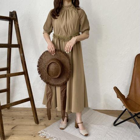 クロスデザインラグランワンピース(brown)【211-6010】