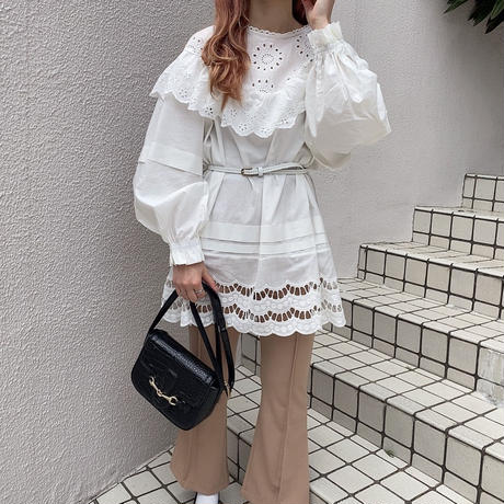 コットン花刺繍チュニックワンピ【201-6059】